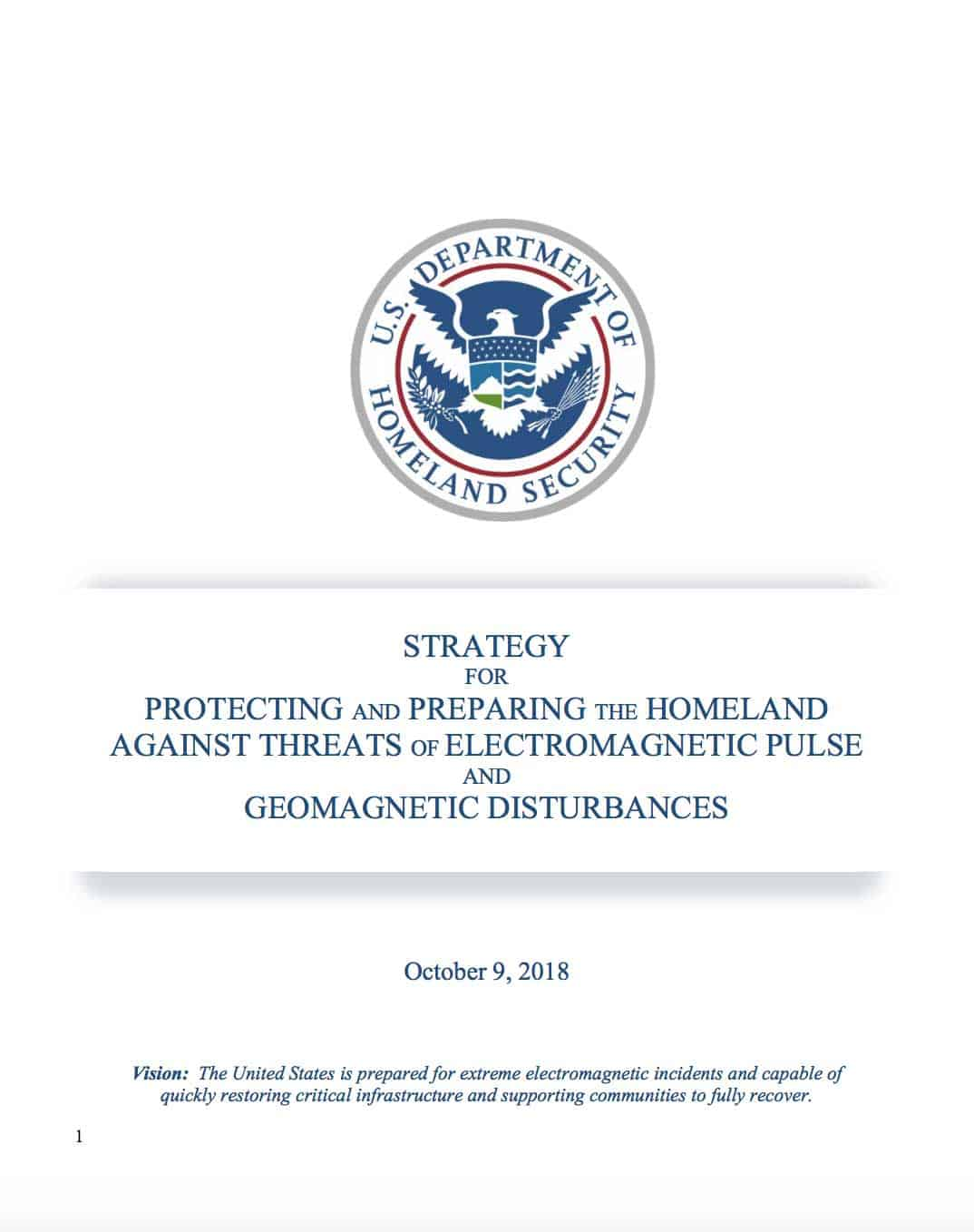 New DHS Electromagnetic Incident Protection Strategy
